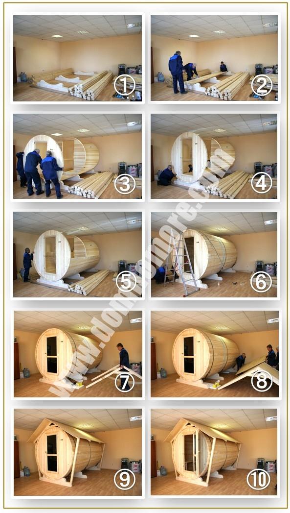 этапы строительства бани-бочки