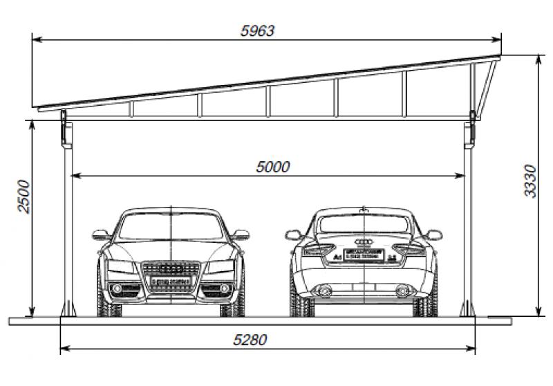 Auvent pour deux voitures