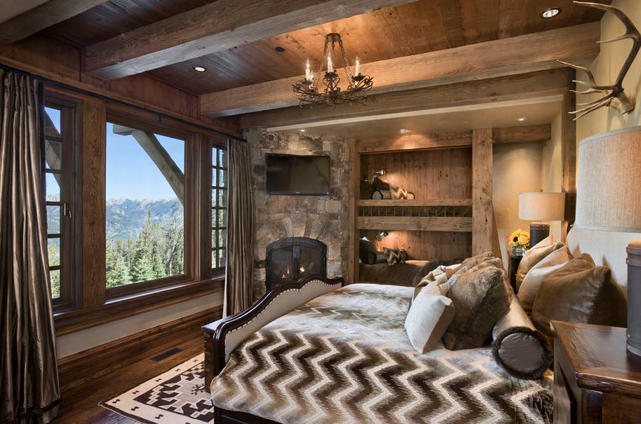 Chambre à coucher de style chalet.