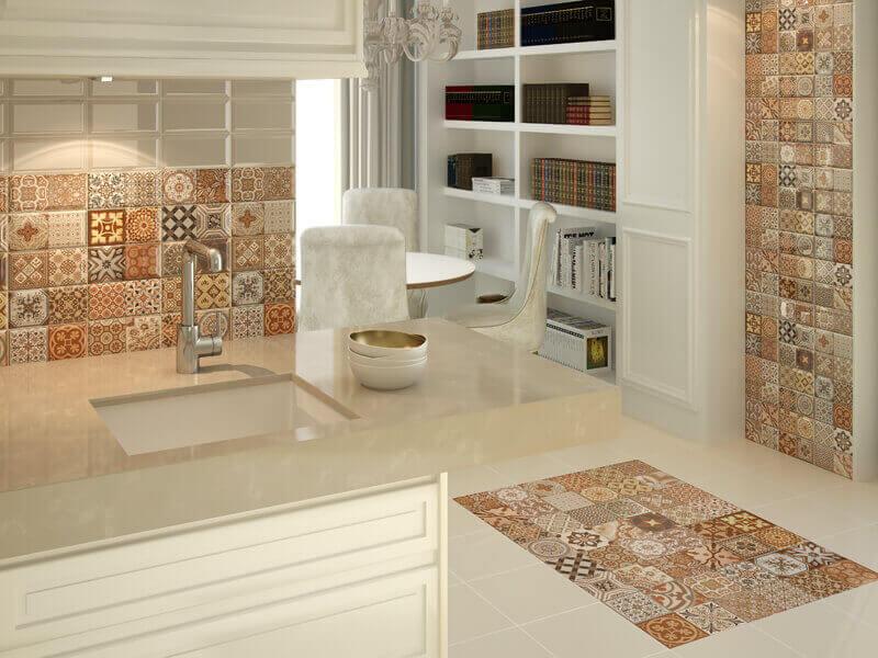Poursuivre le style de couleur du tablier dans la cuisine peut également se faire sur le sol et les murs.