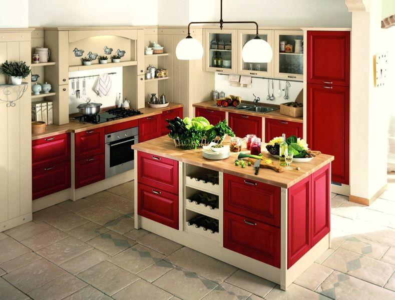 La cuisine classique en blanc et rouge est élégante et fraîche.