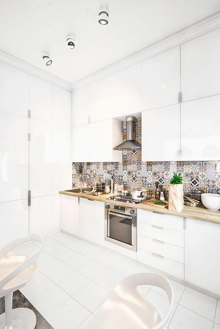 Façade blanche brillante pour tous les meubles de cuisine - une solution audacieuse