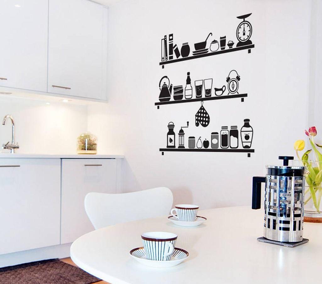 Illustration d'étagères avec des ustensiles de cuisine