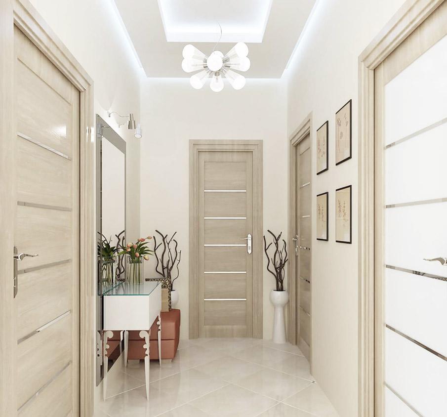 Потрясающий и завораживающий взгляд двухуровневый потолок в коридоре