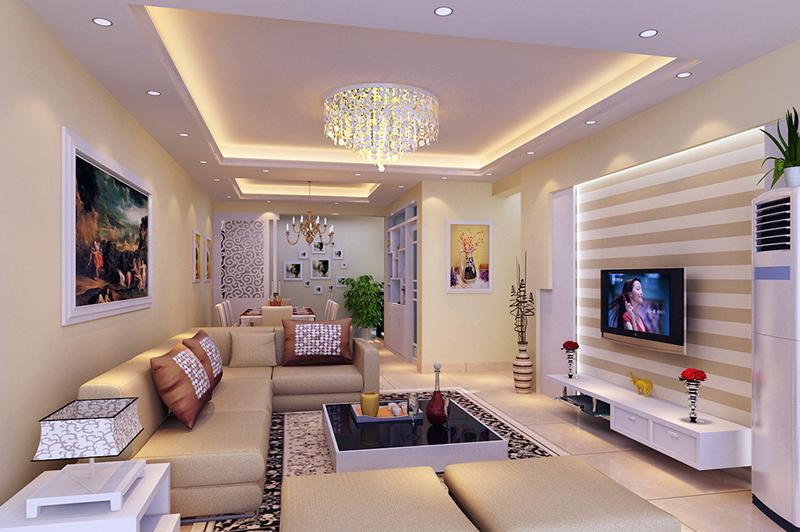 Эффектная люстра в современной гостиной