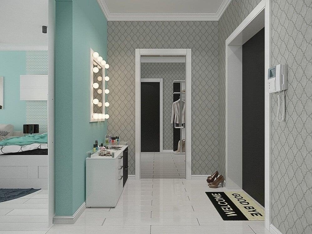 Combinaison de gris et de turquoise dans un couloir élégant