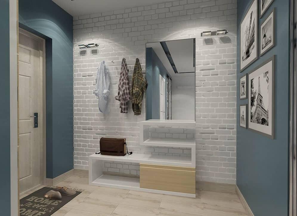 La brique blanche dans l'intérieur du couloir - une technique préférée de nombreux designers