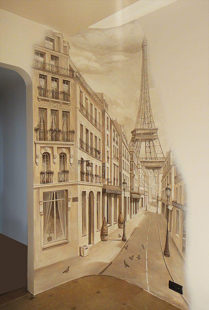 Les tons chauds de beige transmettent parfaitement l'image du Paris de la fin du XVIIIe siècle.