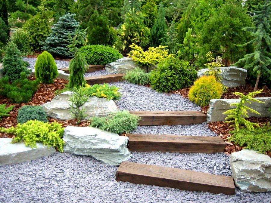 Il est préférable de planter des plantes basses sur une parcelle de jardin à proximité d'étangs ou d'allées de jardin.