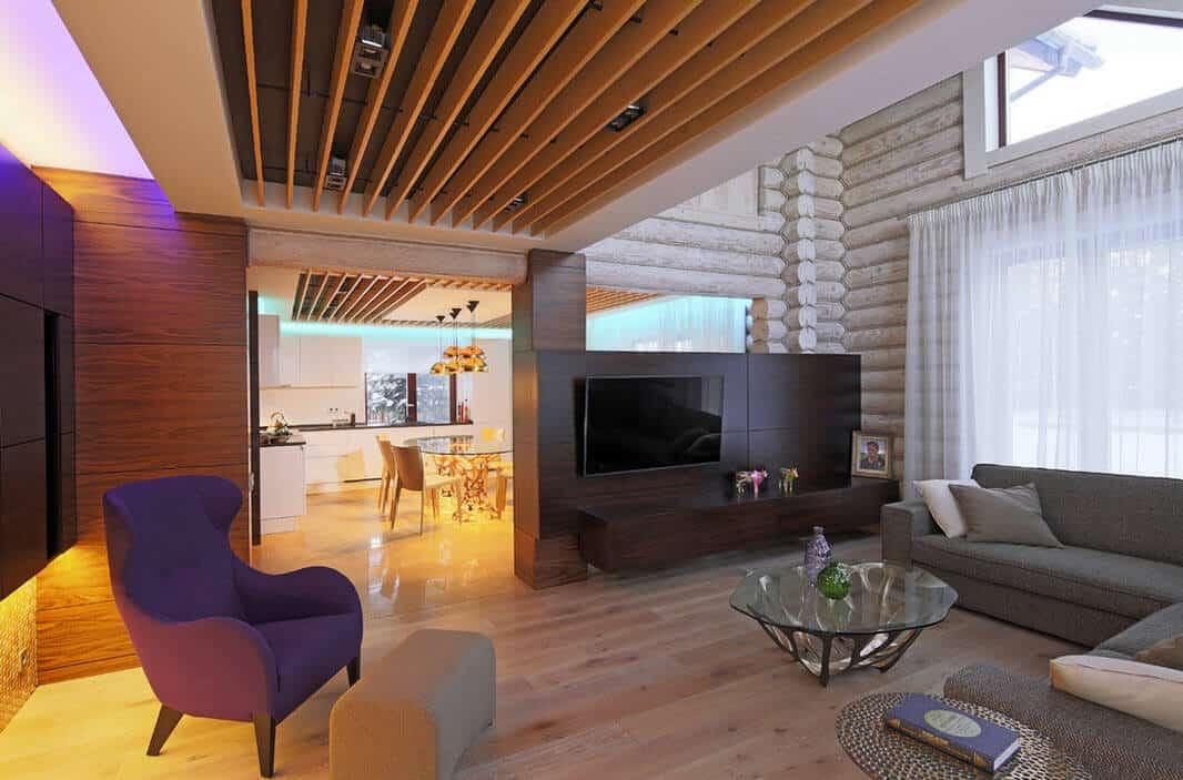 Très souvent, le matériau utilisé pour un plafond à lames est constitué de planches pleines.