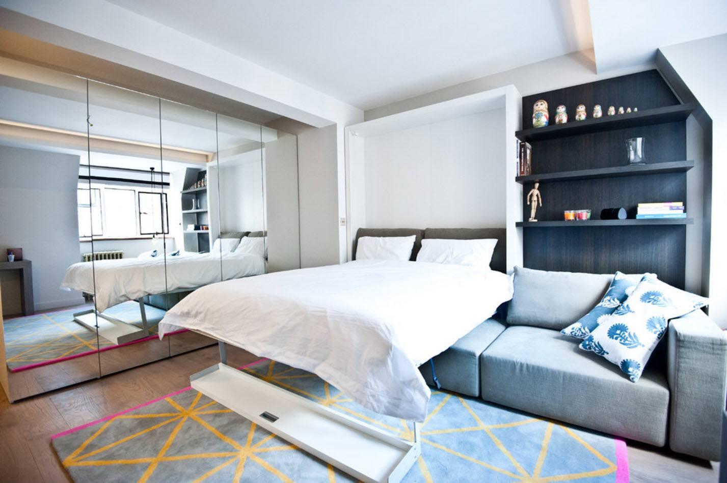 Un lit caché dans le mur est un excellent choix pour une petite pièce
