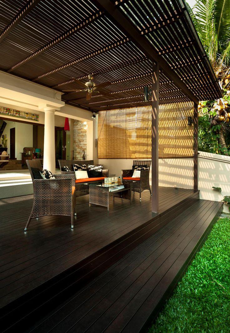 Le but principal de la terrasse est de créer une unité stylistique avec l'extérieur de la maison.