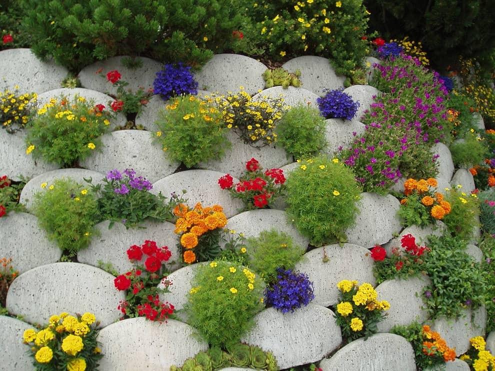 Un toboggan alpin créé sous la forme d'un petit toboggan de pierres aura fière allure en tandem avec des plantes annuelles