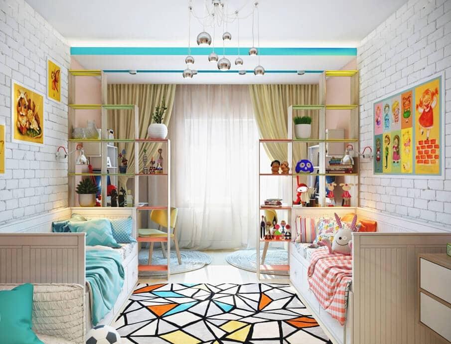 Intérieur de chambre d'enfant en couleur claire et turquoise avec de beaux rideaux