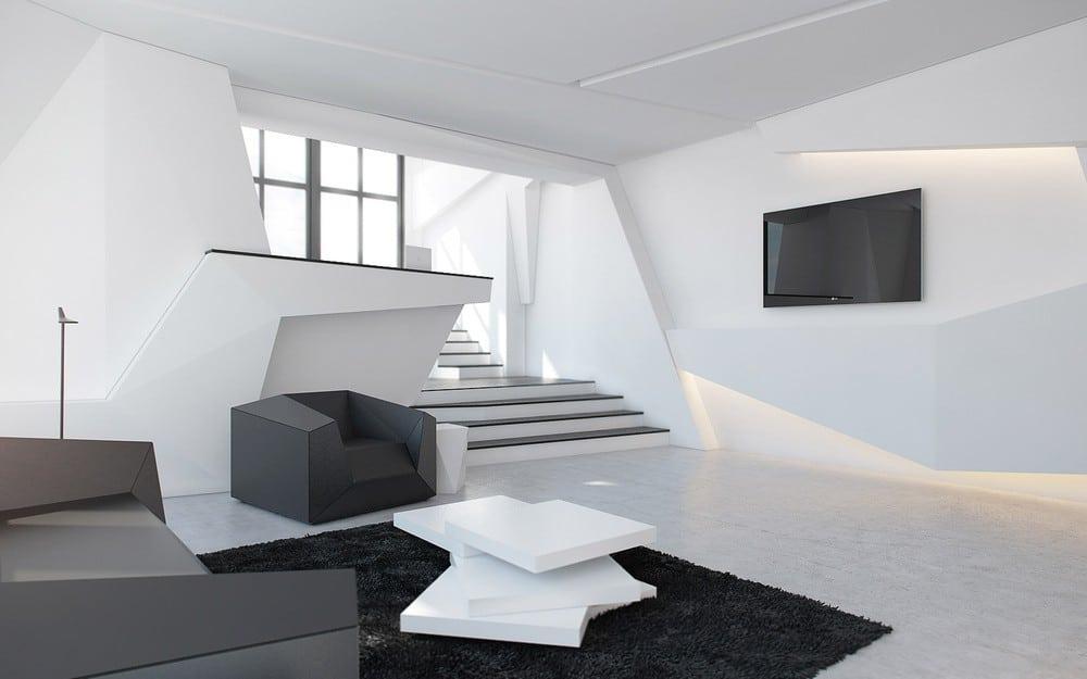 """Combinaison classique de couleurs noir et blanc dans un style d'intérieur de salon """"Haute technologie"""""""