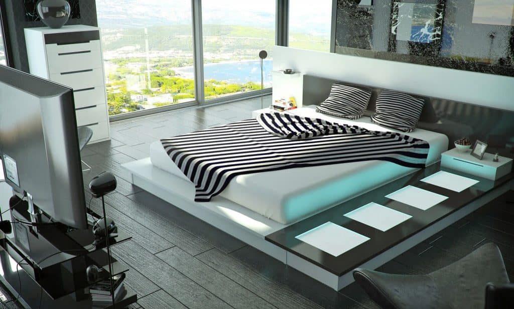 Une belle chambre à coucher high-tech