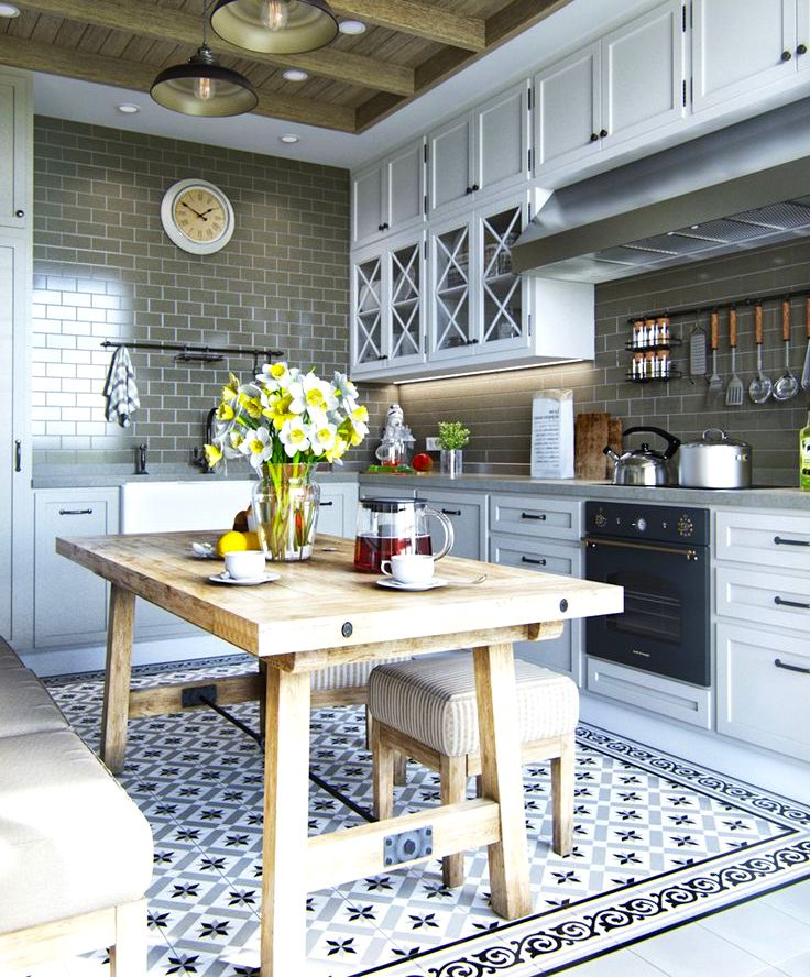 La conception d'un tablier en céramique pour la cuisine doit être étroitement liée, en tenant compte des particularités de la pièce, de la subtilité du choix des meubles et des matériaux de finition