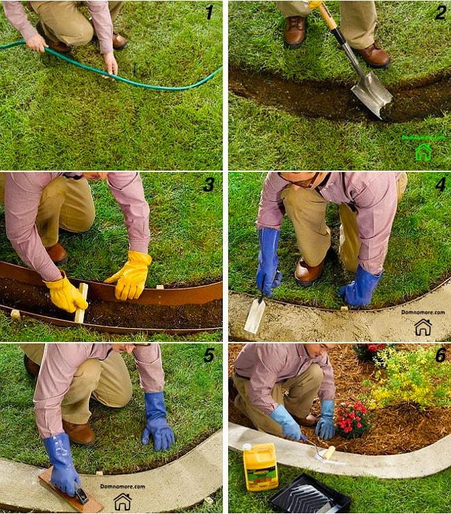 Ограждение для клумбы из сухого бетона своими руками: 1. Делаем разметку под бордюр 2. Снимаем верхний грунт, на глубину не более 10-15 см. 3. Устанавливаем опалубку и распорки 4. Засыпаем готовую смесь, утрамбовываем. 5. Выравниваем верх 6. Покрываем гидрофобизатором