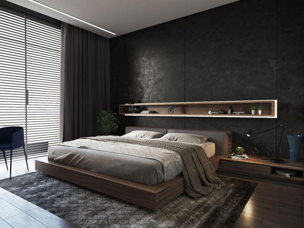 L'intérieur de la chambre avec un vrai caractère masculin se distingue par un design spécial