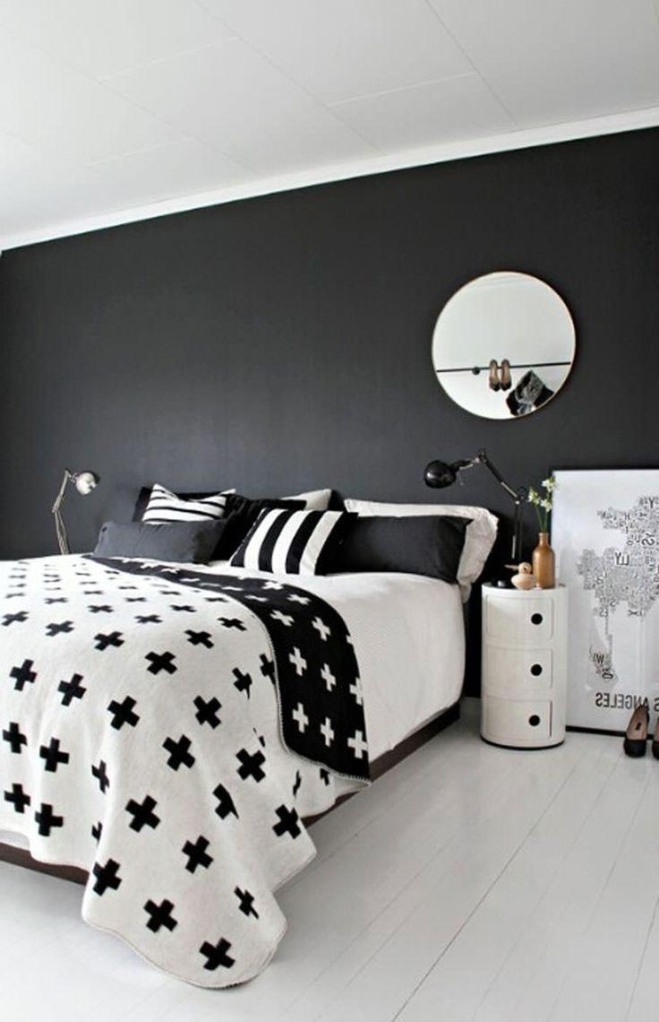 Chambre élégante en noir et blanc