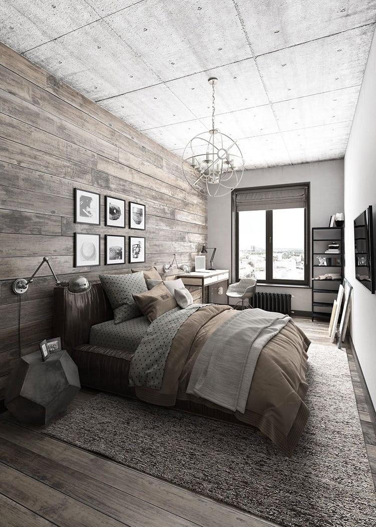 Intérieur design d'une chambre moderne avec un lit original et élégant