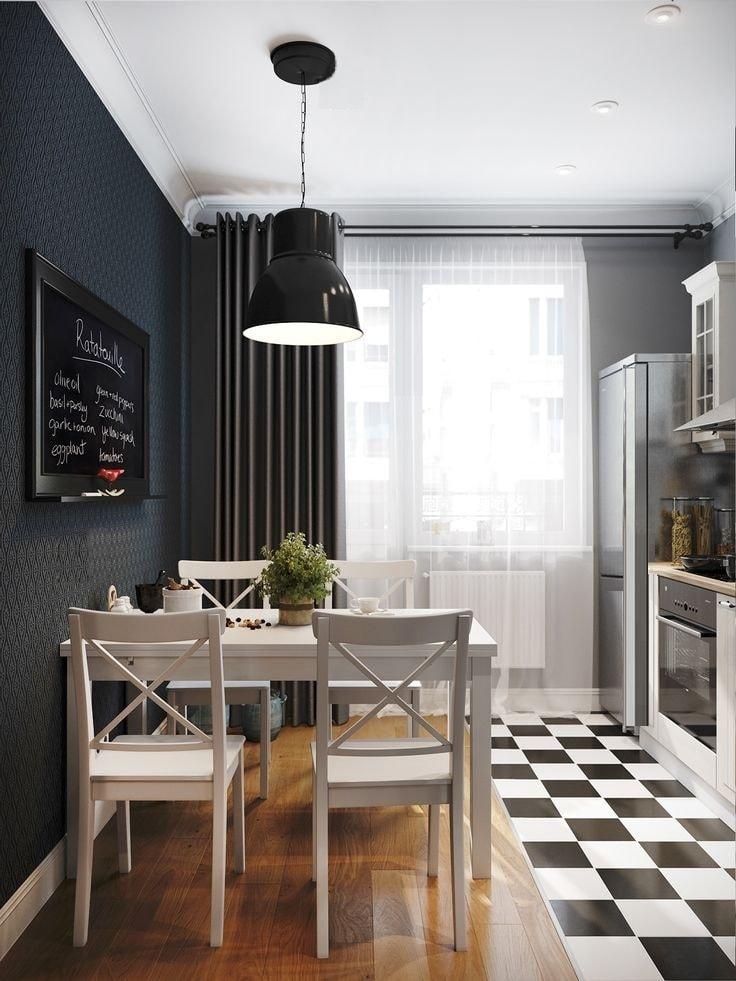 Dans un intérieur de cuisine en noir et blanc, chaque couleur a sa propre force.