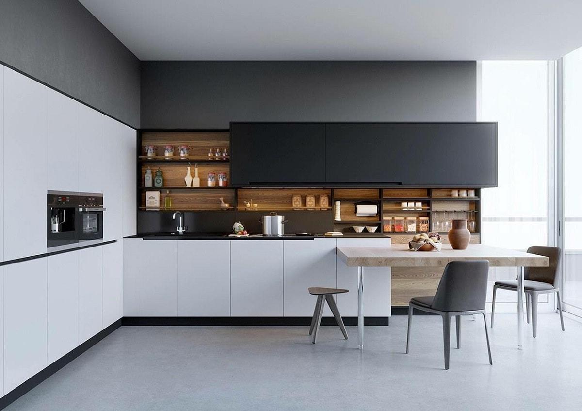 Une cuisine tranquille en noir et blanc.