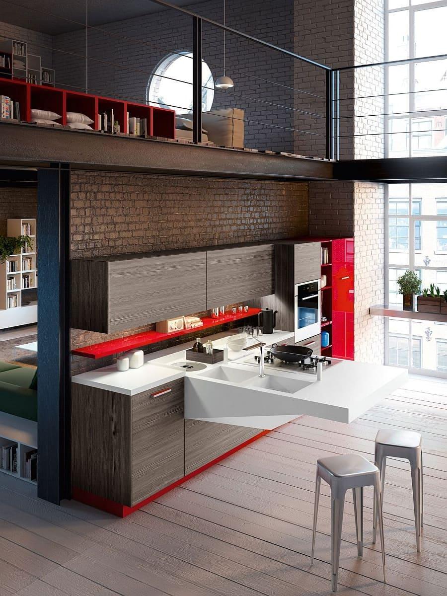 Conception sophistiquée et élégante d'une cuisine de style loft