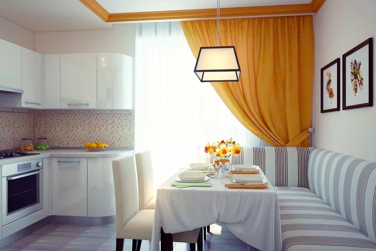 Intérieur de cuisine calme et confortable dans des tons clairs et orangés