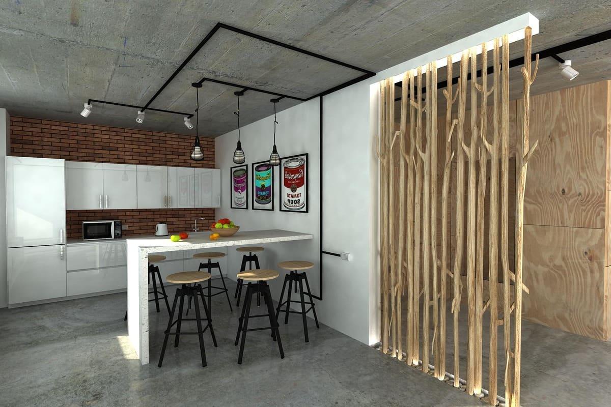Деревянная перегородка хорошо впишется в интерьер квартиры в стиле лофт