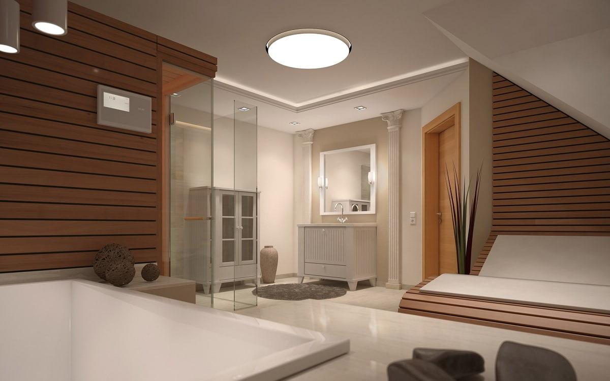 Стена из деревянных панелей поможет выделить определенную зону, в данном случае зону отдыха