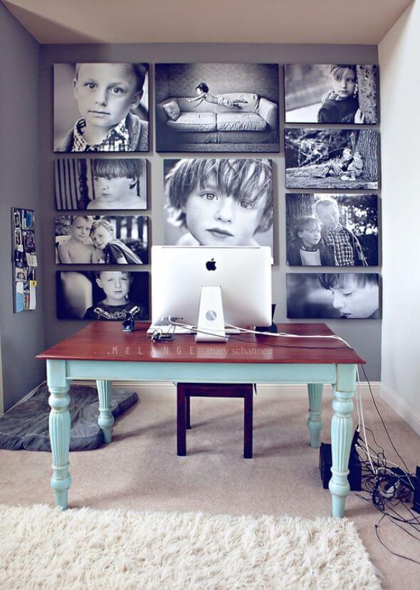 Collage familial de photos en noir et blanc
