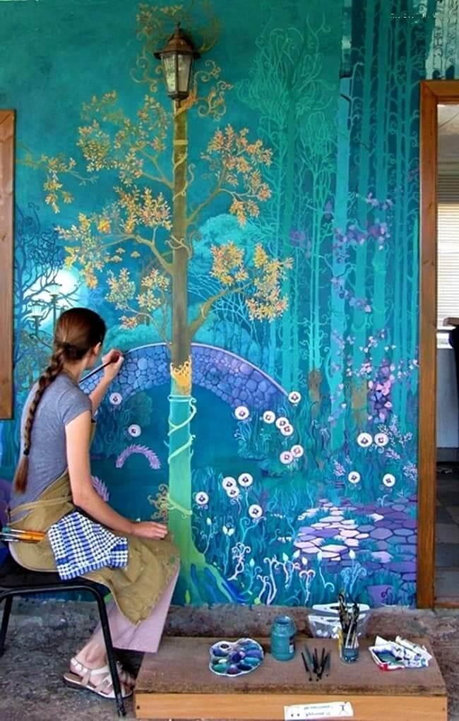 Belle peinture murale faite à la main