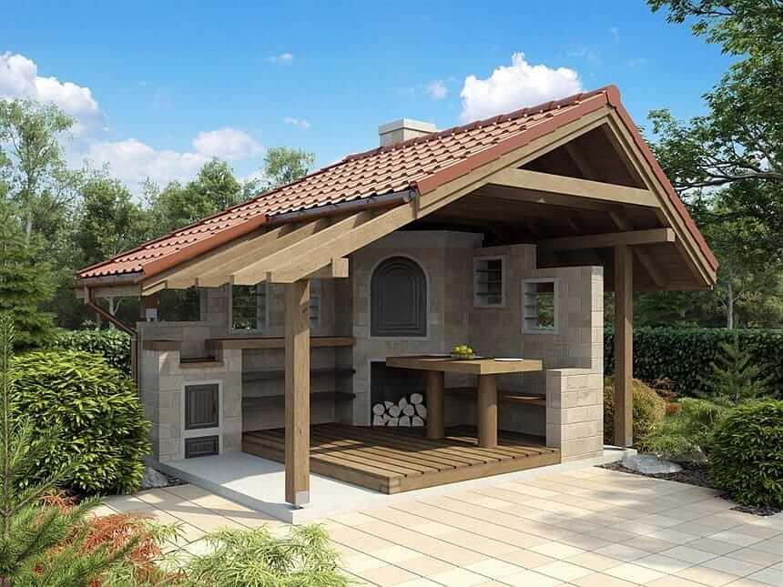 Красивая летняя кухня с прекрасным видом на сад