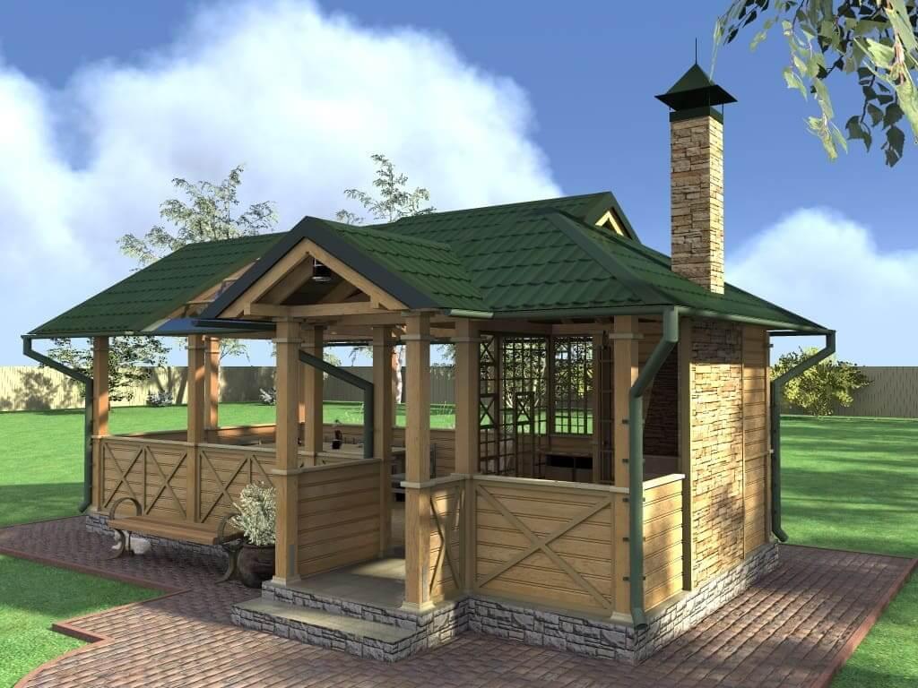 Деревянная летняя кухня с барбекю зоной