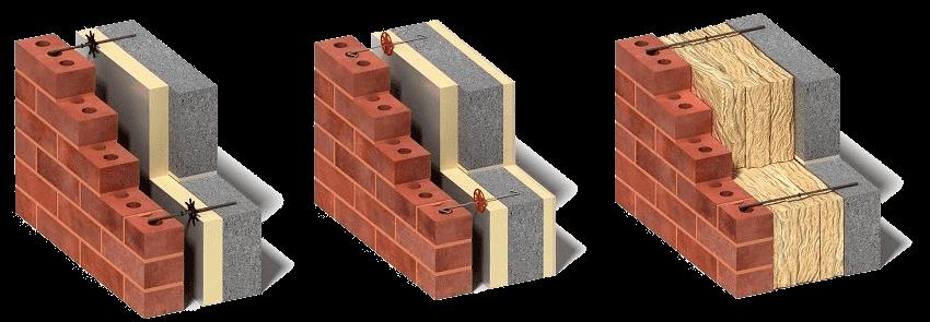 Afin d'obtenir un effet maximal et d'économiser les ressources, les murs isolés sont très souvent recouverts de briques.