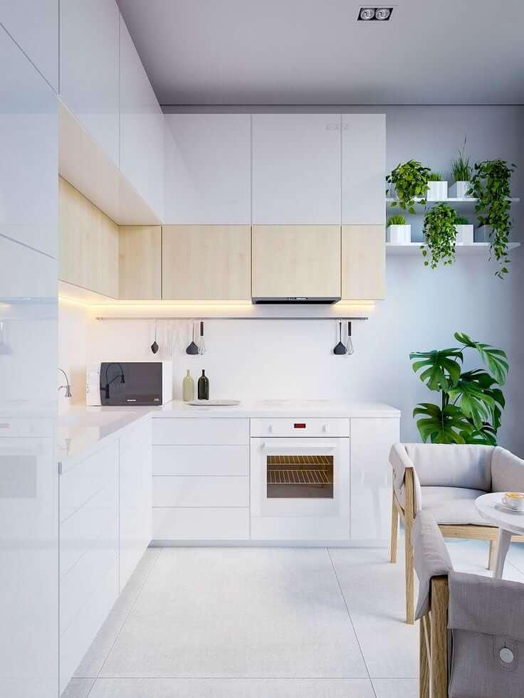 Комнатные растения хорошо гармонируют с кухней, имеющей белую глянцевую поверхность