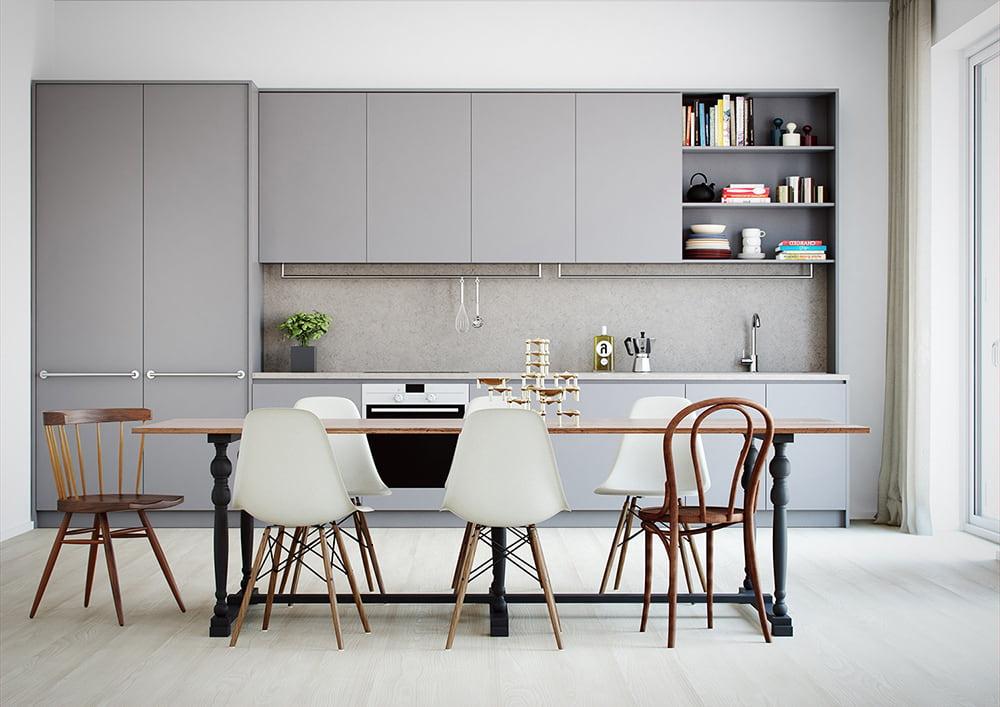 La photo de la conception de la cuisine dans les tons gris et blancs ne peut que vous inspirer pour la redécorer.