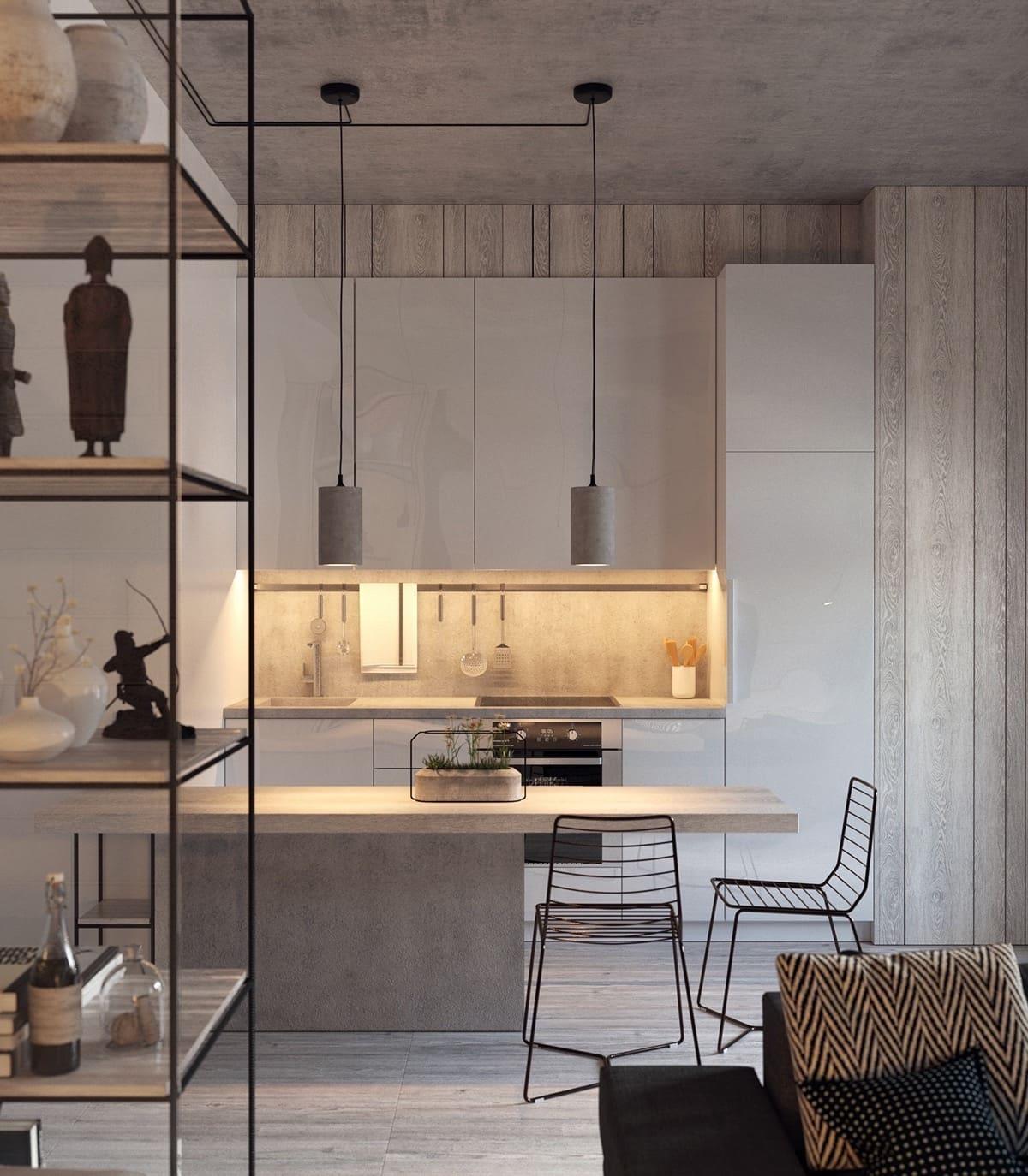 L'éclairage à DEL de l'espace de travail convient parfaitement aux intérieurs de cuisine modernes et classiques en gris.
