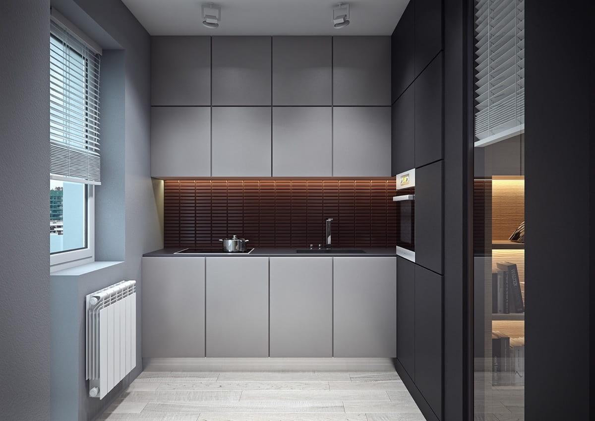 Le gris clair des murs élargit visuellement l'espace.