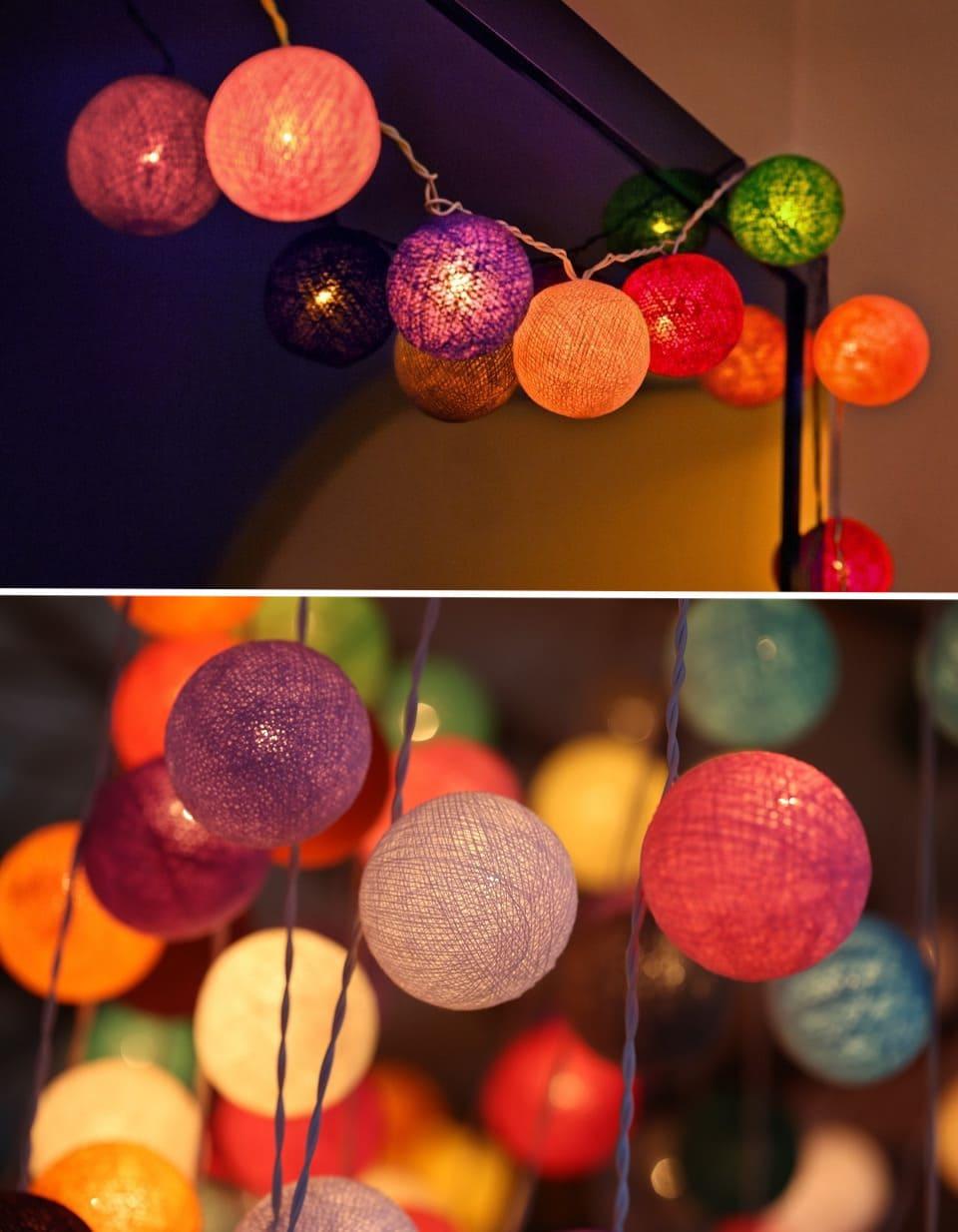Гирлянда из разноцветных шаров смотрится красиво, стильно и романтично