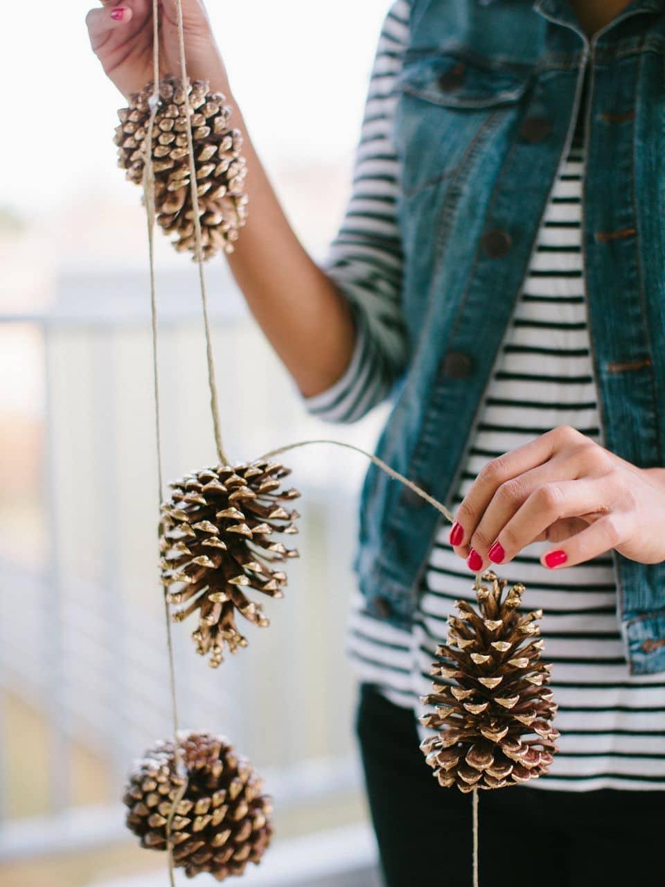 Закрепив шишки на веревке вы получите изящную гирлянду, которой можно украсить дом как внутри, так и снаружи
