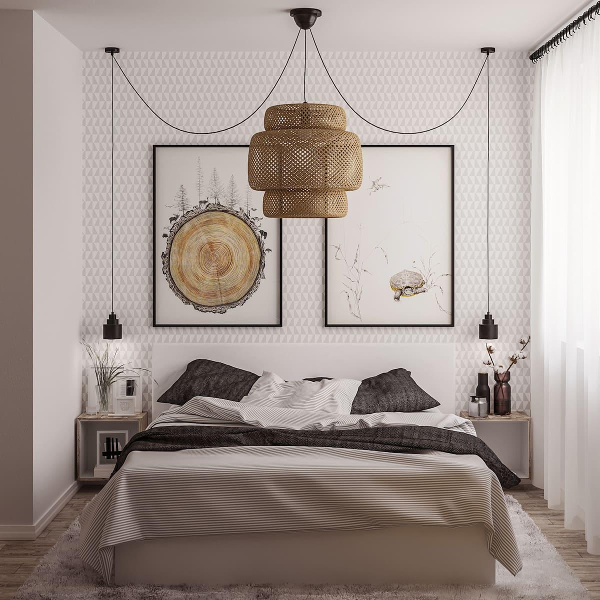 Intérieur de chambre à coucher blanchi à la chaux dans un style contemporain