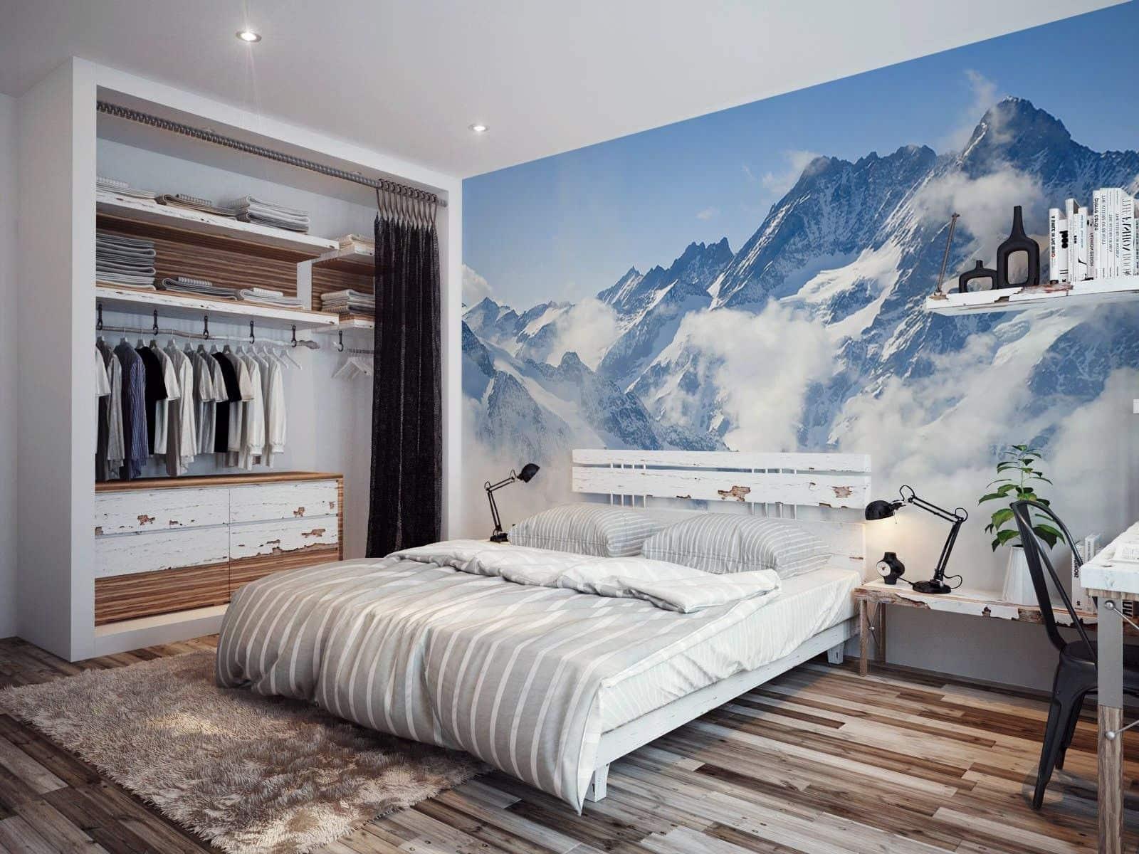 Intérieur de chambre pittoresque de style écologique