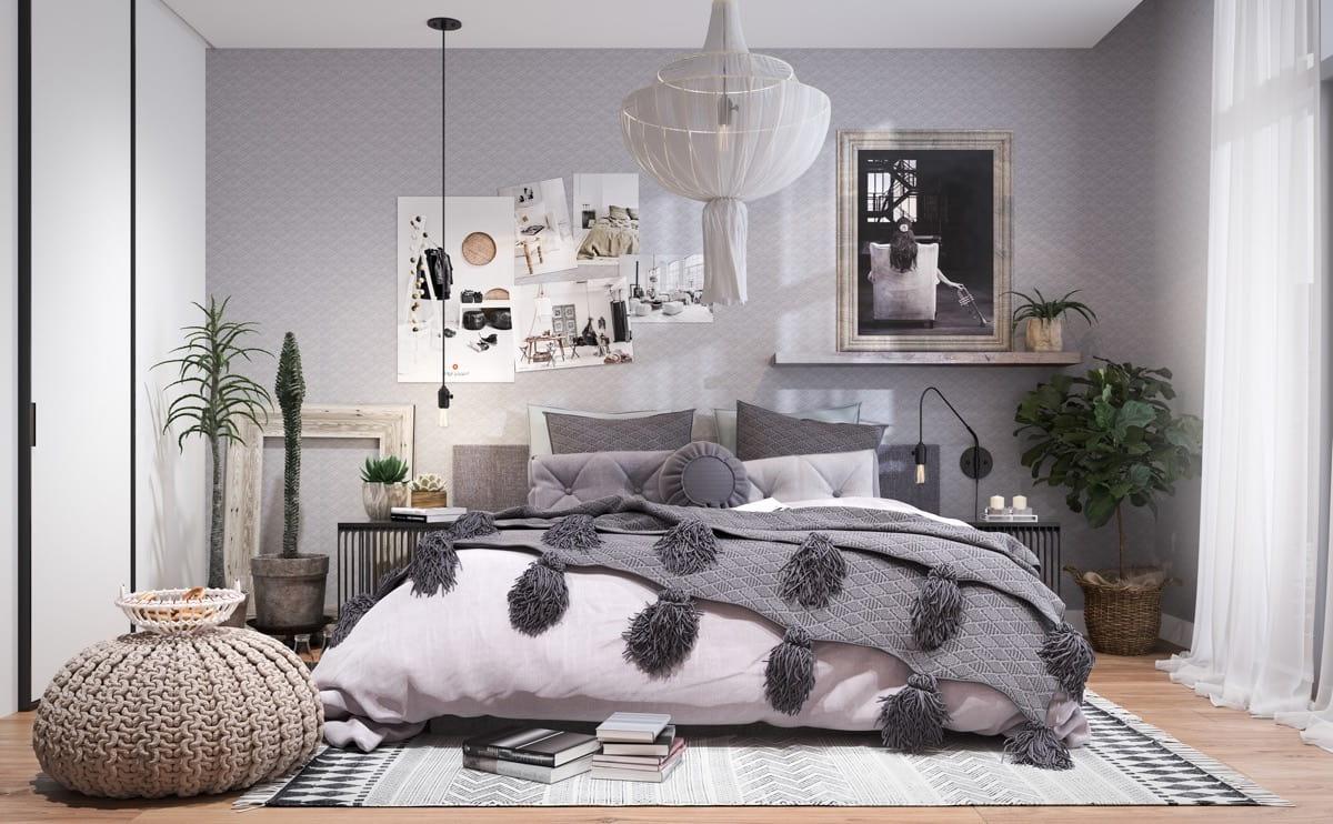 Le papier peint gris est très populaire lorsqu'on choisit une combinaison de couleurs pour une chambre à coucher.