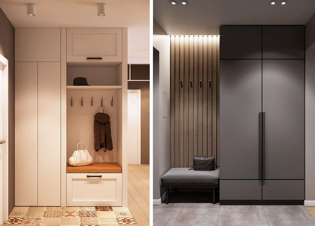 Les meubles de couloir modernes avec des façades claires et foncées sont plus présentables.
