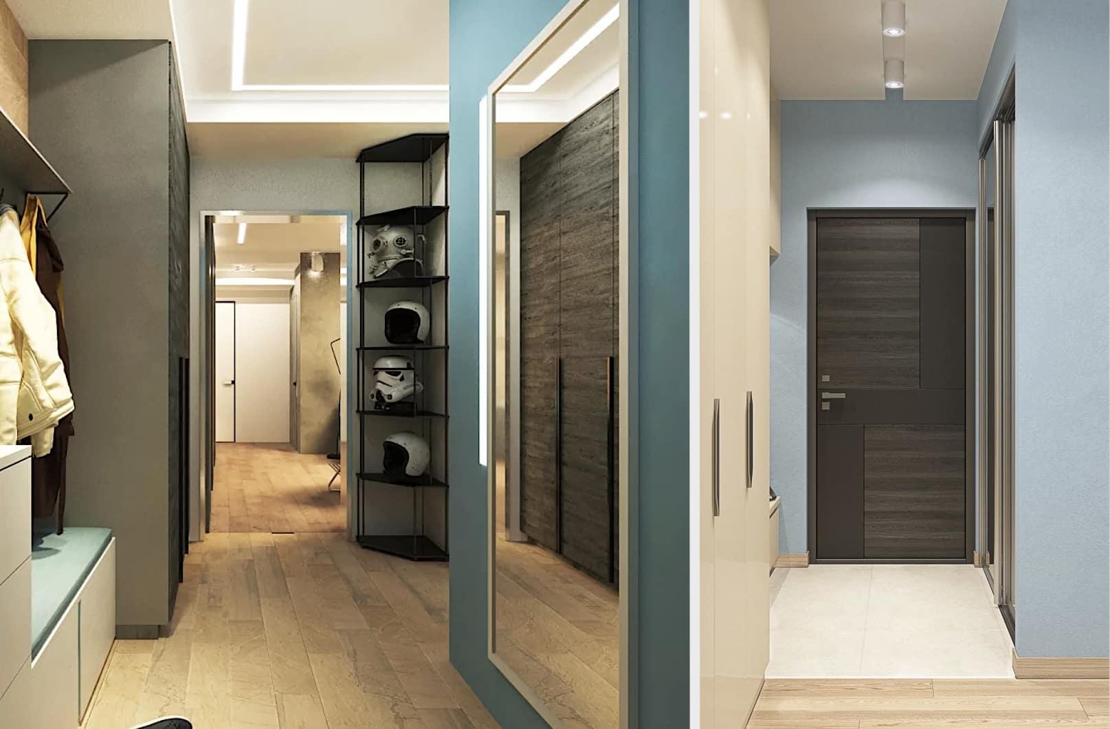 Design de couloir à la mode 2021 en bleu