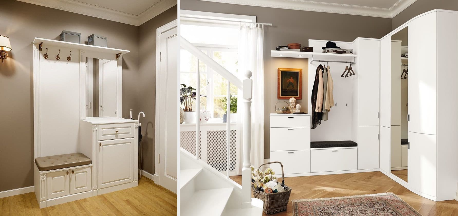 Un beau couloir de couleur marron combine avec succès l'élégance expressive, l'esthétique et le confort.