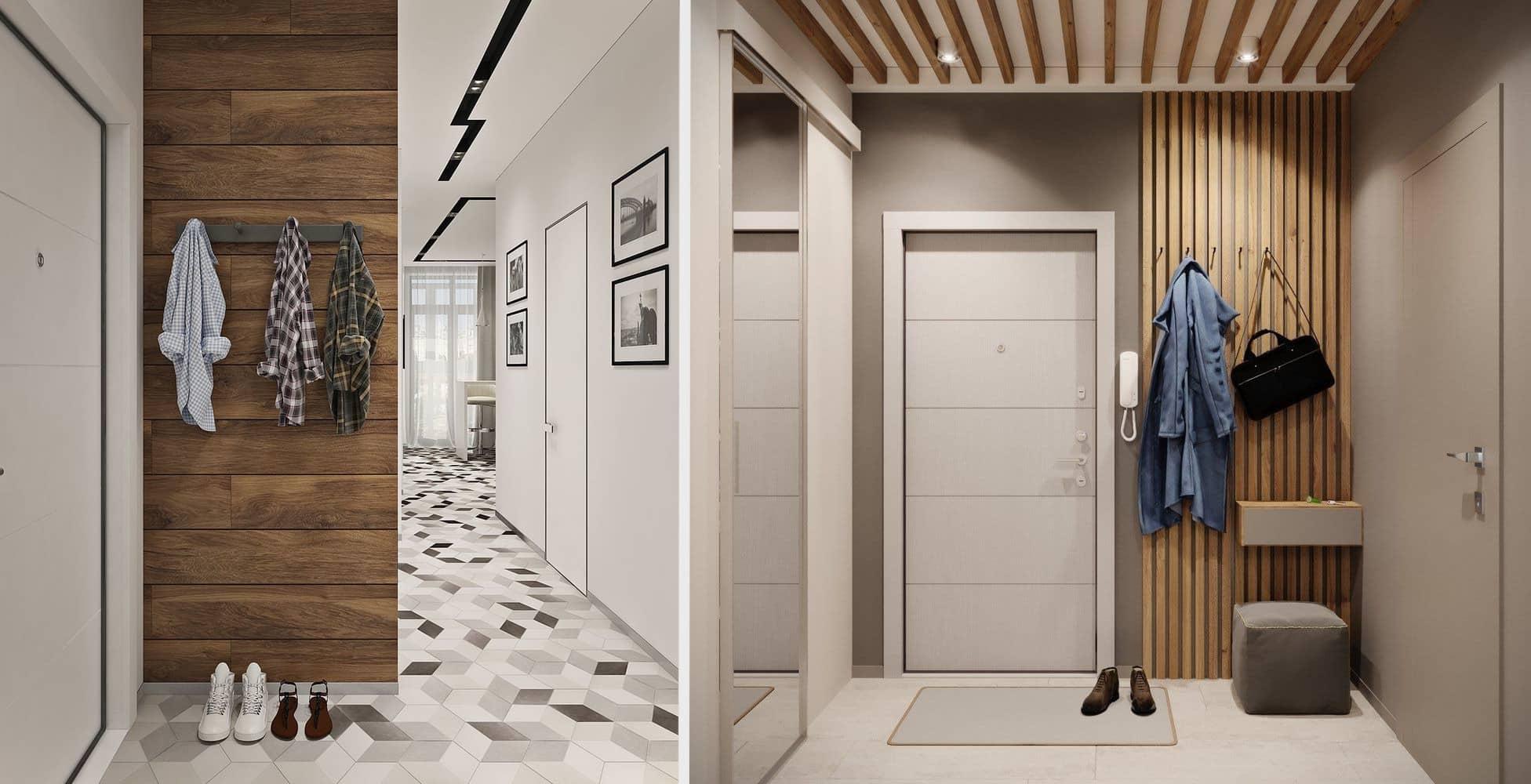 Aménagement de l'intérieur d'un couloir avec un accent naturel prononcé
