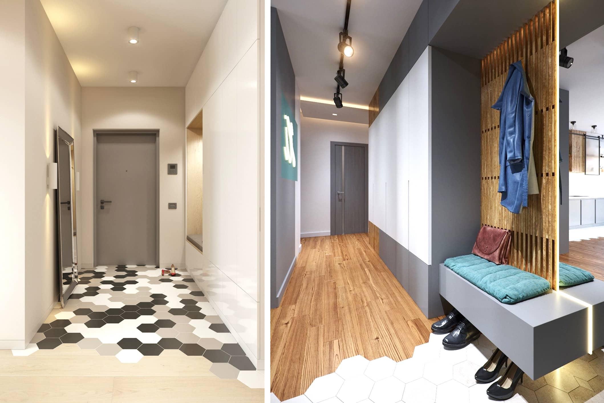 Conception magnifique et inhabituelle du plancher dans le couloir